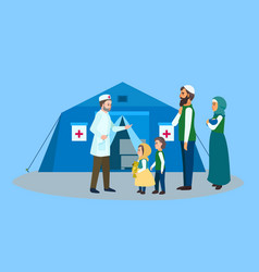 Migrant family doctor tent concept banner flat vector
