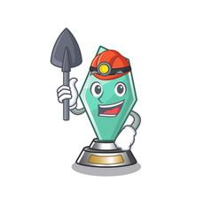 Miner acrylic trophy mascot on a cartoon vector