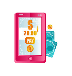 modern pink smartphone processing of mobile vector image