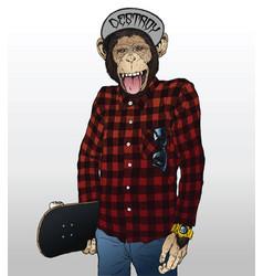Monkey skater hipster vector