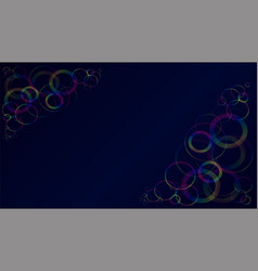 multicolored translucent rings on a dark blue vector image