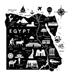 outline and silhouette map egypt vector image