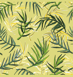 palm leaves silhouette seamless background vector image