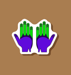 Paper sticker on stylish background golf gloves vector