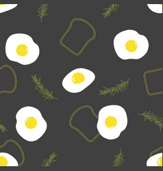 pattern with eggs and toast vector image