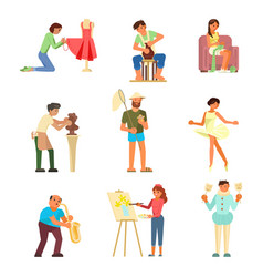 People and their hobbies flat vector