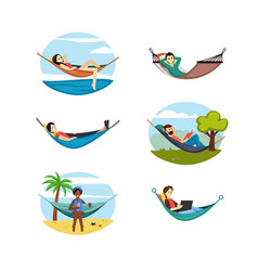 people rest hammocks set relaxing women and men vector image