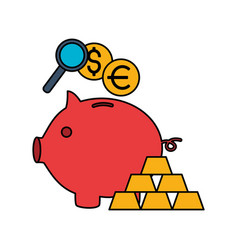 piggy bank gold bars euro dollar vector image
