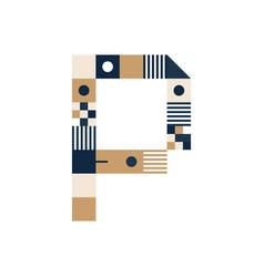 Pixel art letter p colorful letter consist of vector