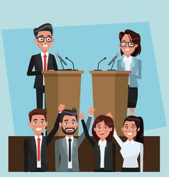 Politician in campaign cartoons vector
