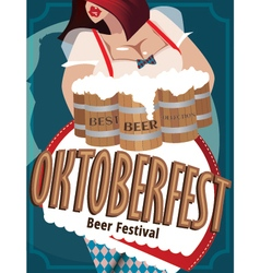 Poster with woman at Oktoberfest vector