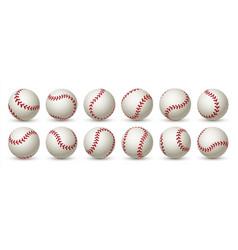 realistic baseball ball leather 3d softball white vector image