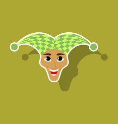 realistic paper sticker on theme humor jester vector image