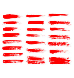red paint ink brush stroke brush line or vector image
