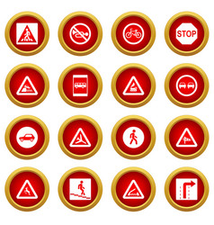 road sign set icon red circle set vector image