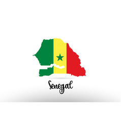 senegal country flag inside map contour design vector image