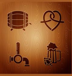 Set glass beer and hop wooden barrel on rack vector