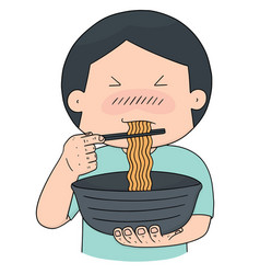 Set of man eat noodle vector