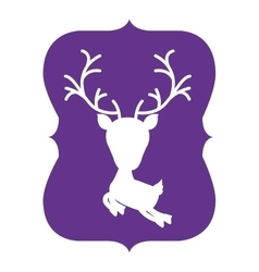Silhouette frame purple with reindeer vector