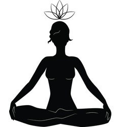 Silhouette of woman practicing yoga in lotus posit vector
