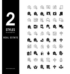 simple line icons real estate vector image