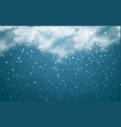 Snow with snowflakes and clouds on transparent vector