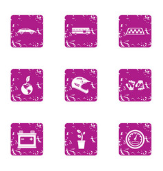 taxi stand icons set grunge style vector image