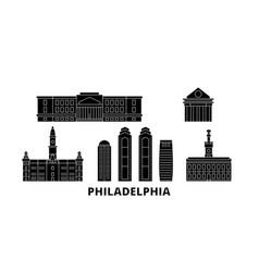 United states philadelphia flat travel skyline vector