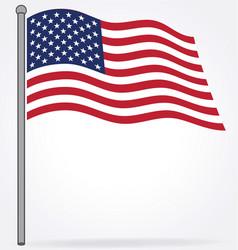 Usa flag flying on flagpole vector