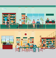 Various character people in bookstore vector