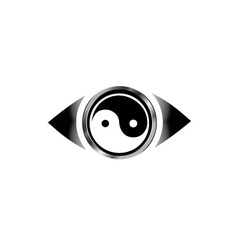Vision eye logo with harmony symbol vector image