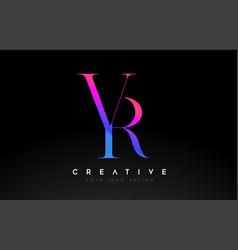 Vr rv letter design logo logotype icon concept vector