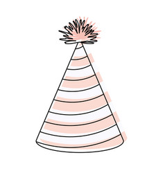 Watercolor silhouette of pink party hat with vector