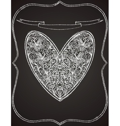 white heart shape on black chalk board vector image