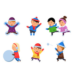 winter kids clothes characters playing games in vector image