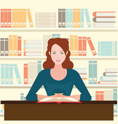 woman reading book on desk vector image
