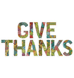 words give thanks with falling leaves vector image