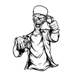 zombie skull wearing capmanual hand vector image