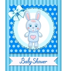 Baby shower hare postcard blue banner vector image vector image