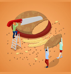cooking bread with miniature people vector image vector image