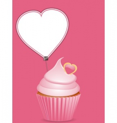 cupcake and heart shaped label vector image