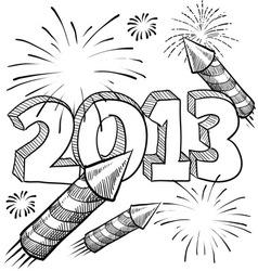 doodle pop fireworks vector image vector image