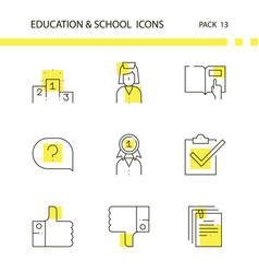 education and school outline and yellow background vector image vector image