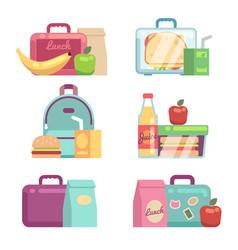 Kids snacks school lunch boxes set vector
