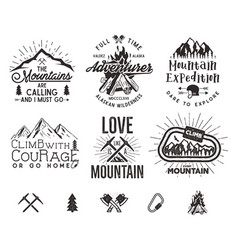 set of mountain climbing labels mountains vector image vector image