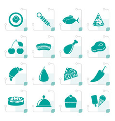 stylized different kind of food icons vector image vector image