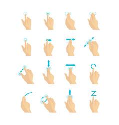 cartoon touch screen gestures set vector image
