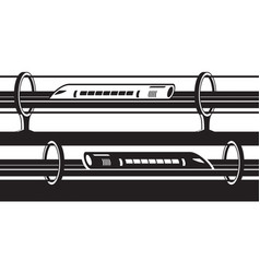 hyperloop overground and underground trains vector image vector image