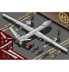 Isometric Drone Airplane Landed in Rear View vector image