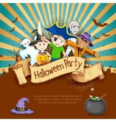 Kids in halloween party vector